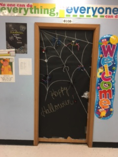 My classroom door decorated for Halloween.