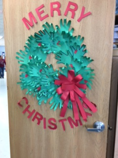 Merry Christmas wreath on classroom door